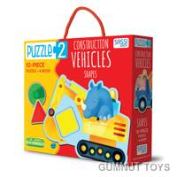 Construction Vehicles and Shapes Puzzle